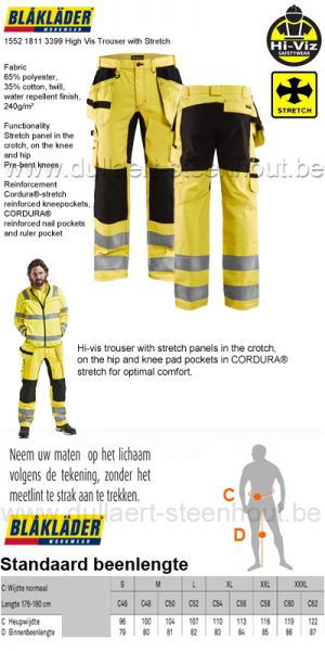 Blaklader - 1552 1811 3399 Fluo gele werkbroek met Stretch High Vis