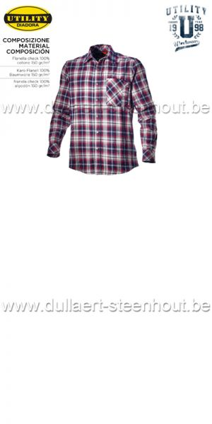 Diadora - Shirt check Flanellen werkhemd - Blue corsair / Star white/ Red