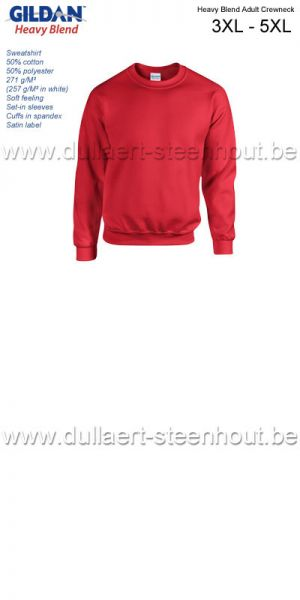 Gildan - Heavy Blend Adult Crewneck sweatshirt / werksweater / rood tot 5XL