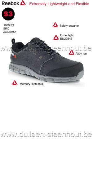 350b055a57a Reebok - 1036 S3 SRC sportieve zwarte lage lederen werkschoenen /  veiligheidsschoenen