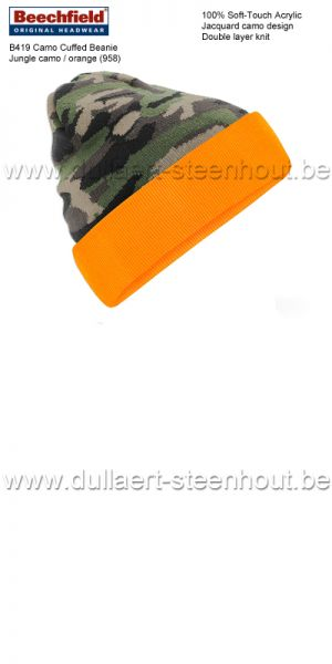 Beechfield - B419 Camo Cuffed Beanie / camouflage muts - jungle camo / orange