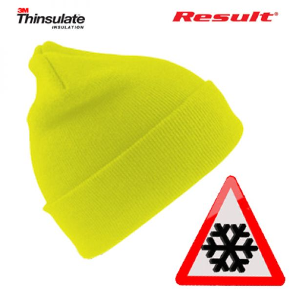 Result Fluo gele wintermuts met Thinsulate isulation 3M