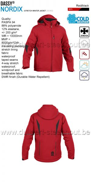 DASSY® Nordix (300463) Stretch winterjas / wintervest - winddicht / waterdicht - rood